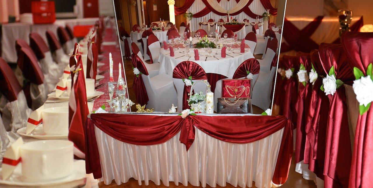 Bordeauxrot-Hochzeitsdeko