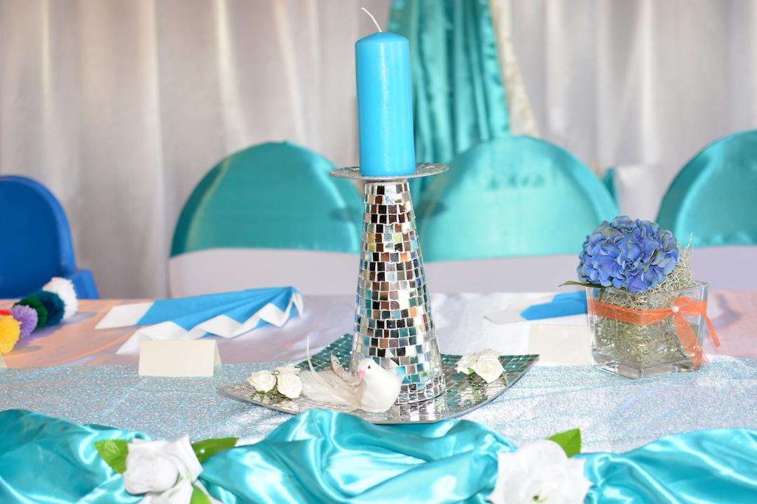 Türkis-Hochzeit-Tischdeko