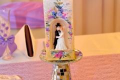 Hochzeitsdeko-Kerze-Lila