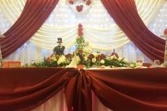 Hochzeitsdekoration-Hintergrund-Brauttisch
