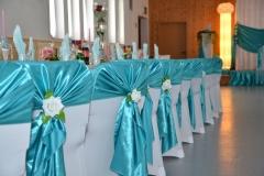 Hochzeitsdeko-Türkis-Stuhlhussen
