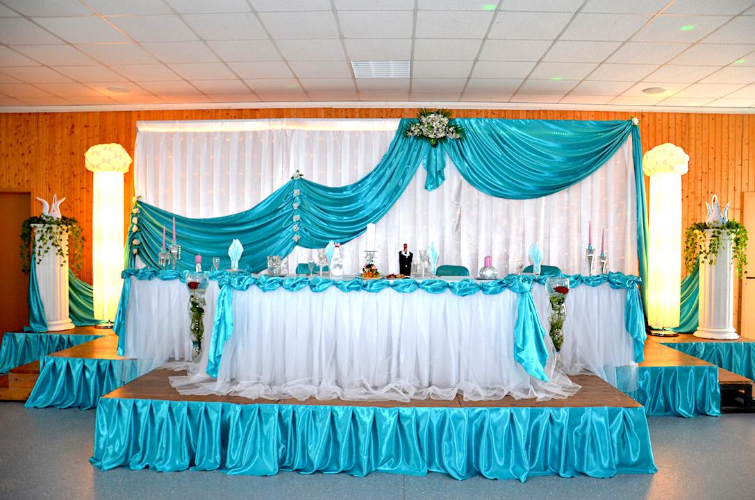 Hintergrund Brautpaartisch Türkis Deko